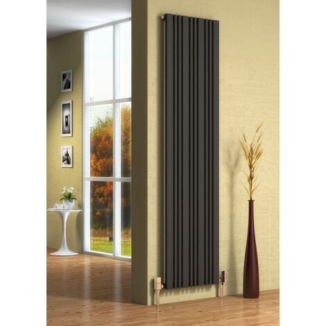 Reina Bonera Vertical Designer Steel Contemporary Vertical Semi-Panelled Radiator - Anthracite