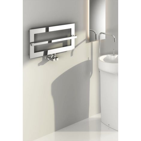 Reina Breno Steel Chrome Designer Heated Towel Rail 350mm x 700mm