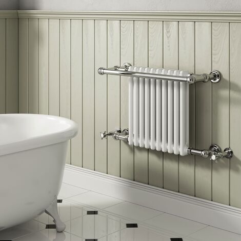 Reina Camden Radiator Heated Towel Rail 508mm H x 770mm W White/Chrome