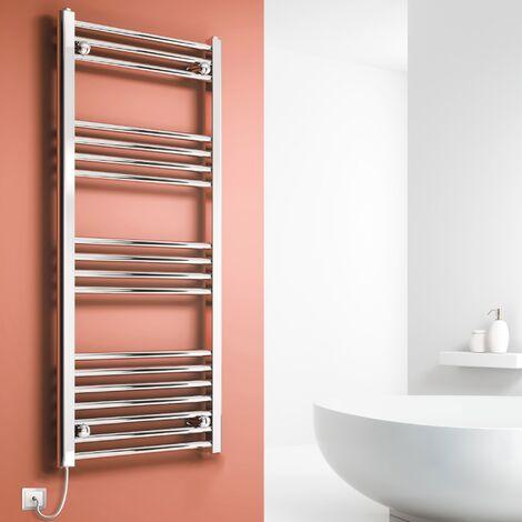 Reina Capo Straight Electric Heated Towel Rail 1200mm H x 500mm W Chrome