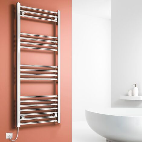 """main image of """"Reina Capo Straight Thermostatic Electric Heated Towel Rail 1200mm H x 600mm W Chrome"""""""
