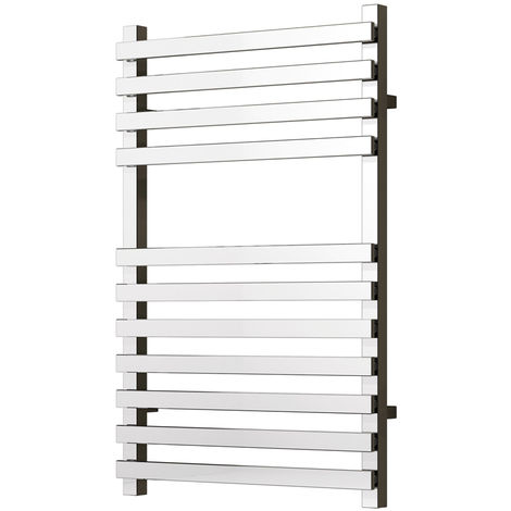 Reina Carina Chrome Straight Square Designer Heated Towel Rail 800mm x 500mm Central Heating