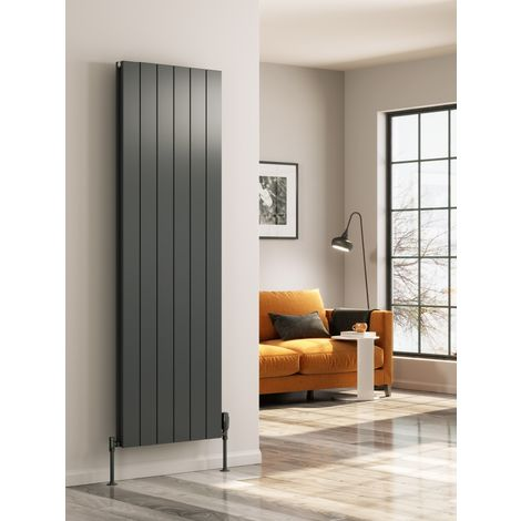 Reina Casina Aluminium Anthracite Double Panel Vertical Designer Radiator 1800mm x 280mm - Central Heating