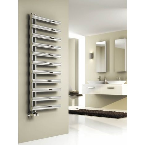Reina Cavo Polished Stainless Steel Designer Heated Towel Rail 880mm x 500mm Central Heating