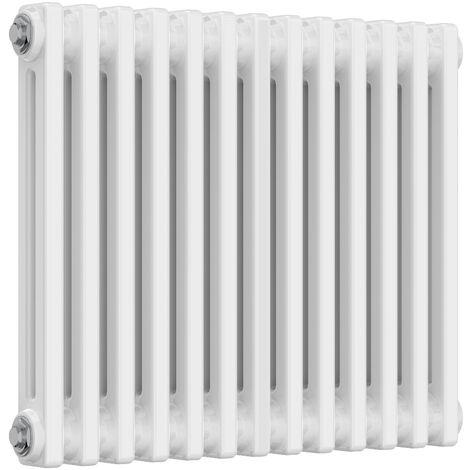 Reina Colona Steel White Horizontal 3 Column Radiator 500mm x 605mm Central Heating