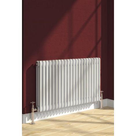 Reina Colona Steel White Horizontal 3 Column Radiator 500mm x 785mm Central Heating