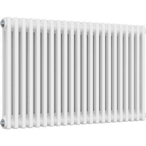 Reina Colona Steel White Horizontal 3 Column Radiator 600mm x 1010mm Central Heating