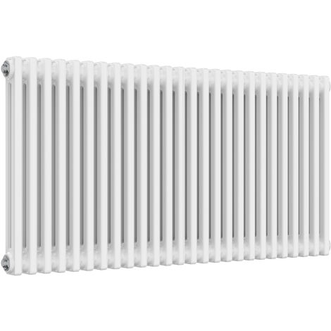 Reina Colona Steel White Horizontal 3 Column Radiator 600mm x 1190mm Central Heating