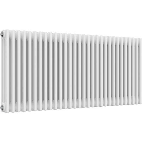 Reina Colona Steel White Horizontal 3 Column Radiator 600mm x 1370mm Central Heating