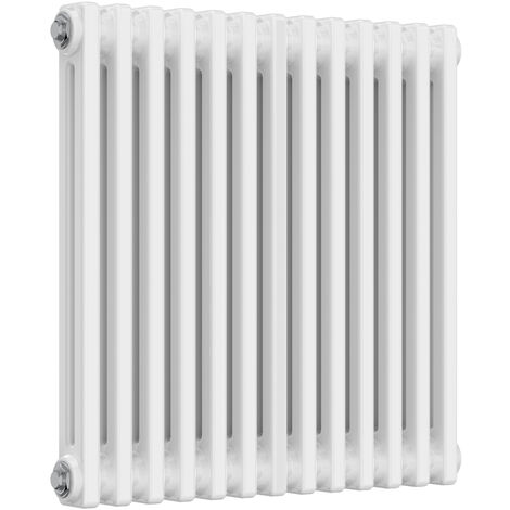 Reina Colona Steel White Horizontal 3 Column Radiator 600mm x 605mm Electric Only - Thermostatic