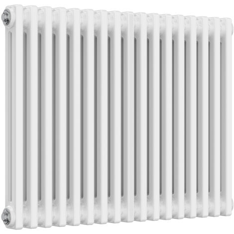 Reina Colona Steel White Horizontal 3 Column Radiator 600mm x 785mm Central Heating