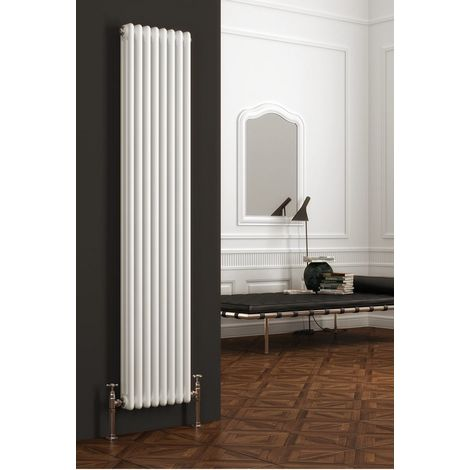 Reina Colona Steel White Vertical 2 Column Radiator 1500mm x 200mm