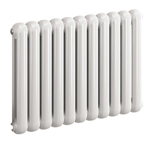 Reina Coneva White Horizontal Designer Radiators 550mm x 440mm 6 Columns Duel Fuel - Thermostatic