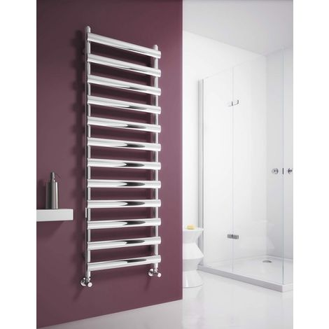 Reina Deno Brushed Stainless Steel Designer Heated Towel Rail 496mm x 500mm Central Heating
