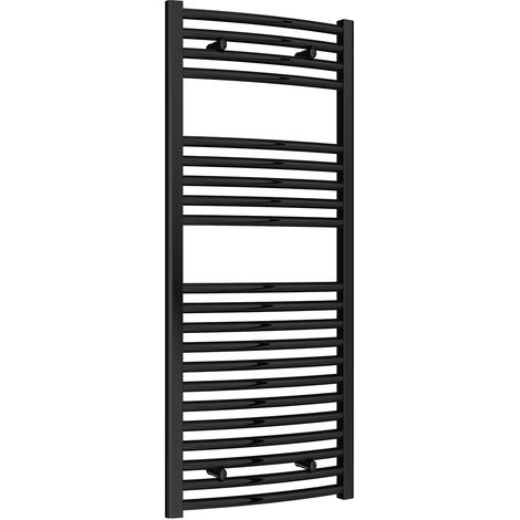 Reina Diva Black Curved 25mm Ladder Heated Towel Rail 1200mm x 500mm Central Heating