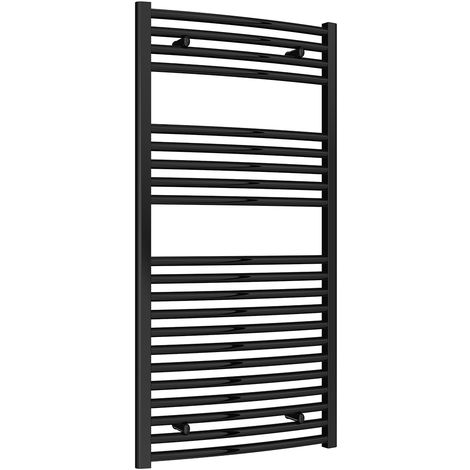 Reina Diva Black Curved 25mm Ladder Heated Towel Rail 1200mm x 600mm Central Heating
