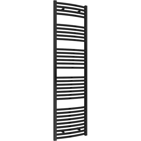 Reina Diva Black Curved 25mm Ladder Heated Towel Rail 1800mm x 500mm Central Heating