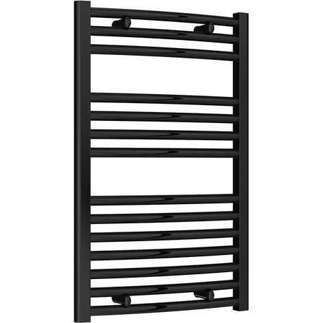 Reina Diva Black Curved 25mm Ladder Heated Towel Rail 800mm x 500mm Central Heating