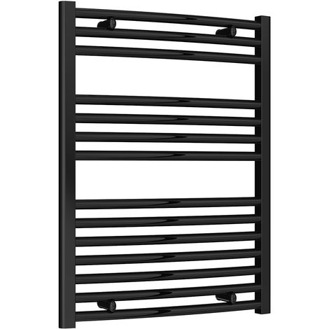 Reina Diva Black Curved 25mm Ladder Heated Towel Rail 800mm x 600mm Central Heating