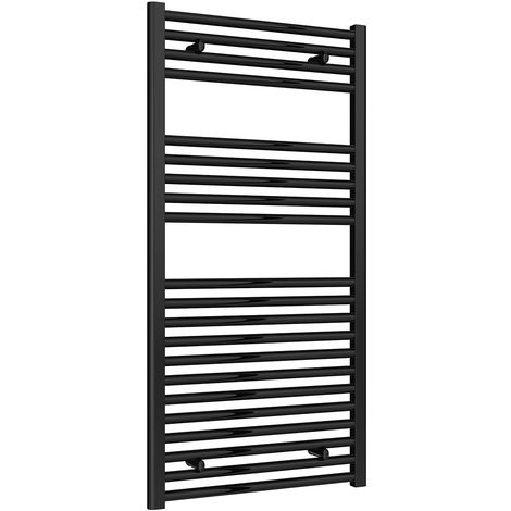 Reina Diva Black Straight 25mm Ladder Heated Towel Rail 1200mm x 600mm Central Heating
