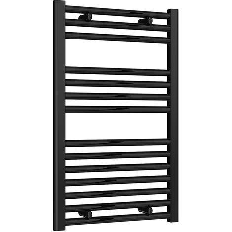 Reina Diva Black Straight 25mm Ladder Heated Towel Rail 800mm x 500mm Dual Fuel - Thermostatic