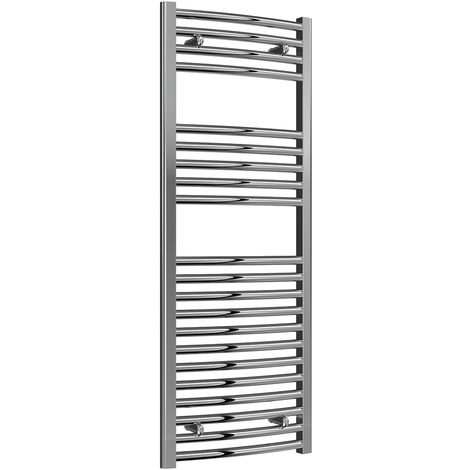 Reina Diva Chrome Curved 25mm Ladder Heated Towel Rail 1200mm x 450mm Dual Fuel - Non-Thermostatic