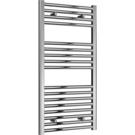 Reina Diva Chrome Straight 25mm Ladder Heated Towel Rail 1000mm x 500mm Central Heating