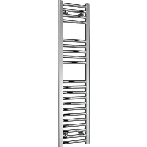 Reina Diva Chrome Straight 25mm Ladder Heated Towel Rail 1200mm x 300mm Central Heating