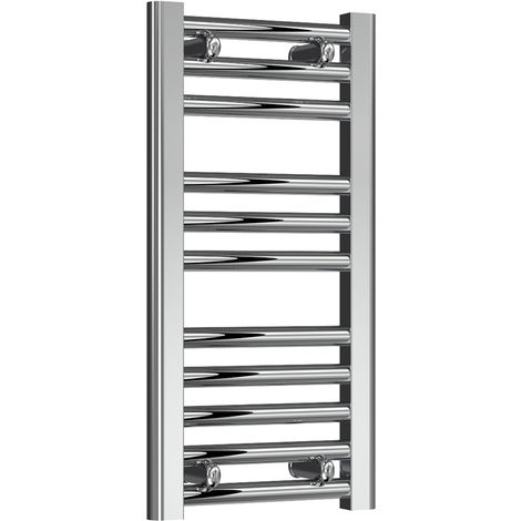 Reina Diva Chrome Straight 25mm Ladder Heated Towel Rail 600mm x 300mm Central Heating