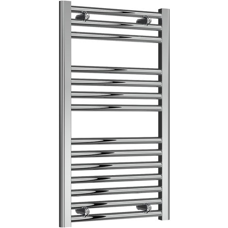 Reina Diva Chrome Straight 25mm Ladder Heated Towel Rail 800mm x 450mm Central Heating