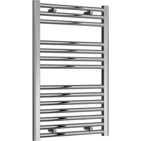 Reina Diva Chrome Straight 25mm Ladder Heated Towel Rail 800mm x 500mm Central Heating