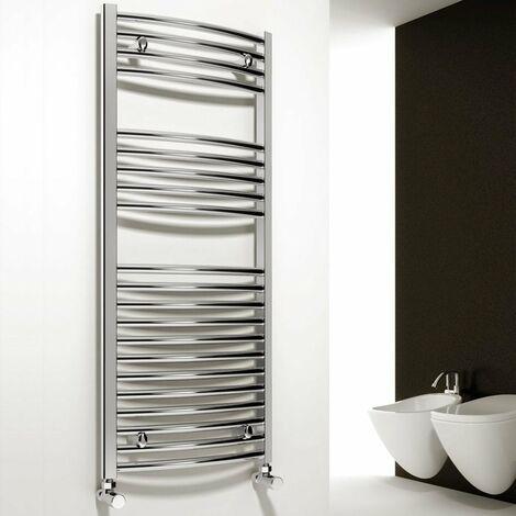 Reina Diva Curved Heated Towel Rail 1200mm H x 750mm W Chrome
