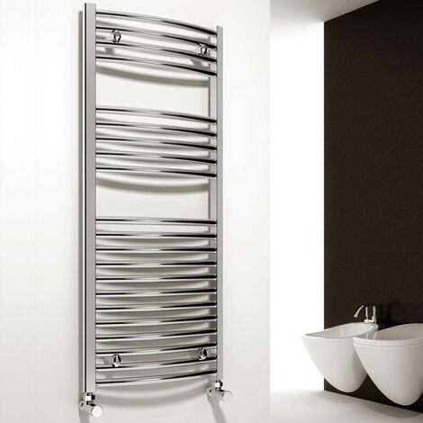 Reina Diva Curved Heated Towel Rail 1600mm H x 400mm W Chrome