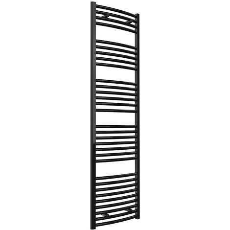 Reina Diva Curved Heated Towel Rail 1800mm H x 400mm W Matt Black