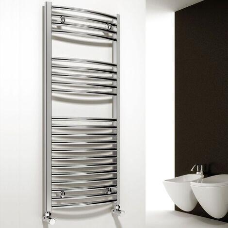 Reina Diva Curved Heated Towel Rail 1800mm H x 450mm W Chrome