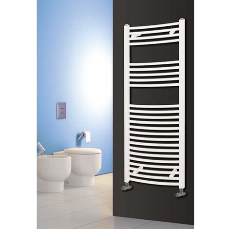 Reina Diva Curved Heated Towel Rail 1800mm H x 500mm W White