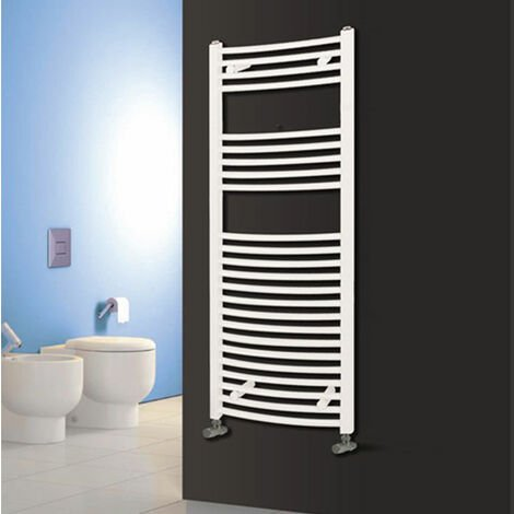 Reina Diva Electric Curved Heated Towel Rail 1200mm H x 400mm W White