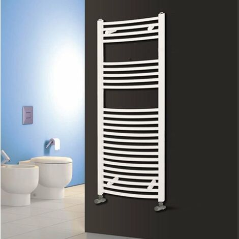 Reina Diva Electric Curved Heated Towel Rail 800mm H x 600mm W White
