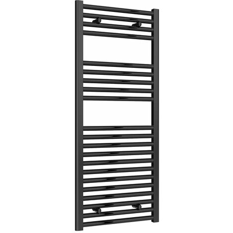 Reina Diva Flat Heated Towel Rail 1200mm H x 500mm W Black