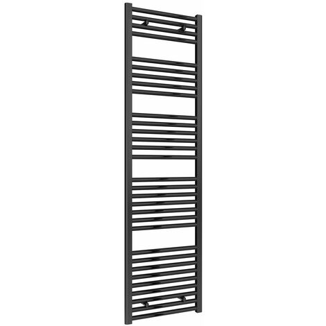 Reina Diva Flat Heated Towel Rail 1800mm H x 500mm W Black