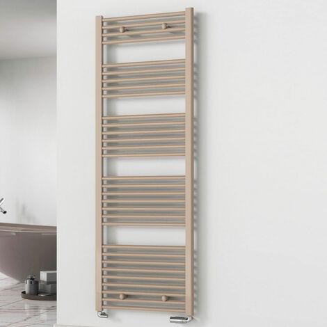 Reina Diva Flat Heated Towel Rail 1800mm H x 600mm W Latte