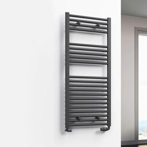 Reina Diva Flat Heated Towel Rail 800mm H x 500mm W Anthracite