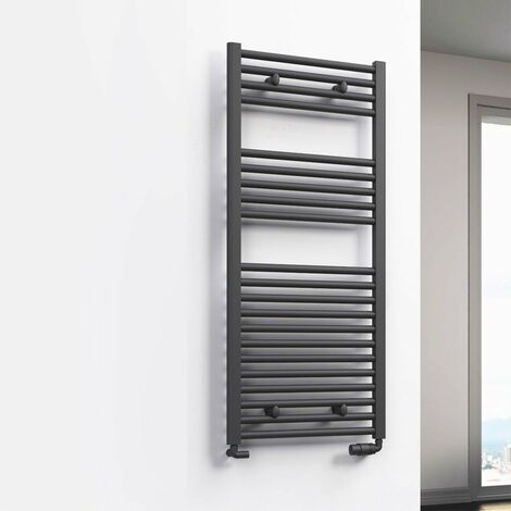Reina Diva Flat Heated Towel Rail 800mm H x 600mm W Anthracite