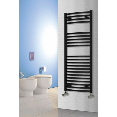 """main image of """"Reina Diva Steel Curved Black Heated Towel Rail 1800mm x 500mm Central Heating"""""""