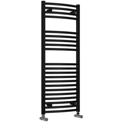 Reina Diva Steel Curved Black Heated Towel Rail 800mm x 500mm Central Heating