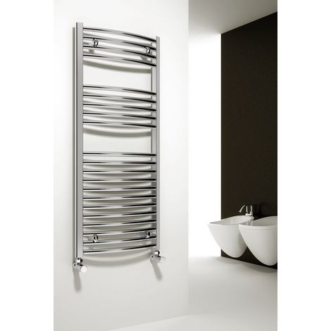 Reina Diva Steel Curved Chrome Heated Towel Rail 1200mm x 450mm Electric Only - Thermostatic