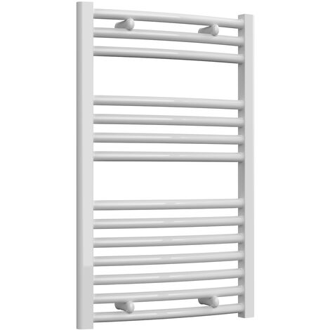 Reina Diva Steel Curved White Heated Towel Rail 800mm x 500mm Central Heating