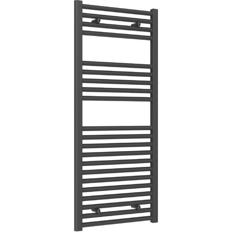 Reina Diva Steel Straight Anthracite Heated Towel Rail 1200mm x 500mm Central Heating