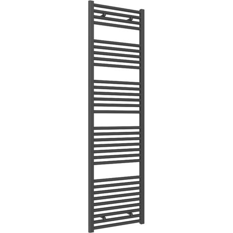 Reina Diva Steel Straight Anthracite Heated Towel Rail 1800mm x 500mm Central Heating