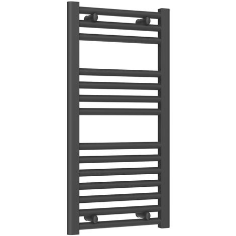 Reina Diva Steel Straight Anthracite Heated Towel Rail 800mm x 400mm Central Heating